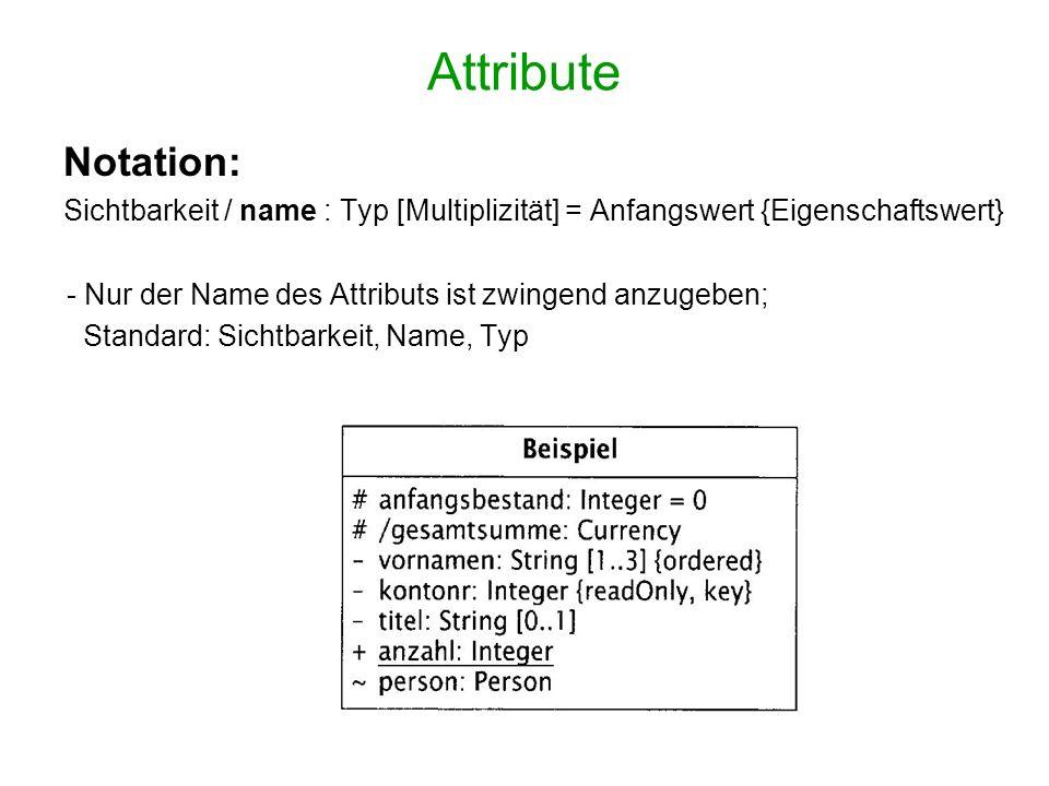 Attribute Notation: Sichtbarkeit / name : Typ [Multiplizität] = Anfangswert {Eigenschaftswert} - Nur der Name des Attributs ist zwingend anzugeben;